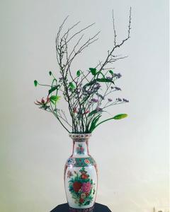 Bloemen in Chinese vaas bij Zaamen